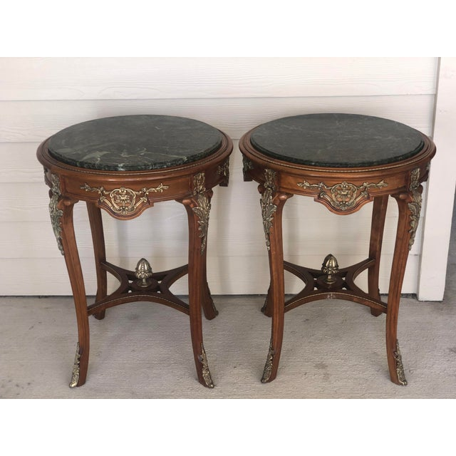 French Ormolu Mounted Side Marble Tables - a Pair For Sale - Image 11 of 13