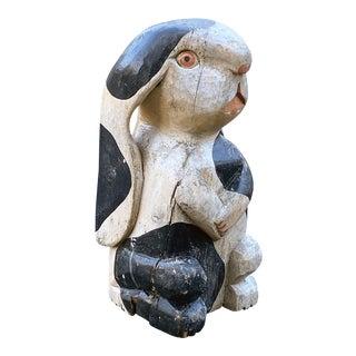 Vintage Folk Art Timber Rabbit in Carved Wood and Poly-Chromed Figurine For Sale