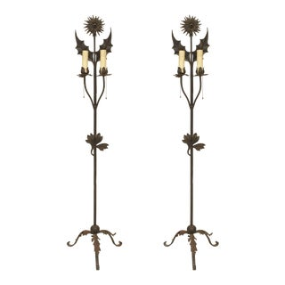 Pair of English Aesthetic Movement Wrought Iron Floor Torchieres For Sale
