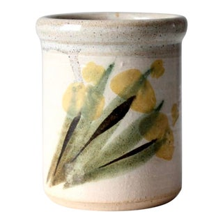 Vintage Hand-Painted Studio Pottery Vase For Sale