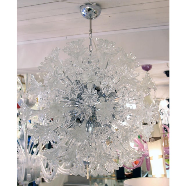 A pair of Espirit ceiling light, blown silver and clear submerso glass components on chromed steel structure. Made in...