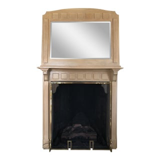 French Country 2 Piece Oak Fireplace Mantel With Oak Framed Mirror For Sale