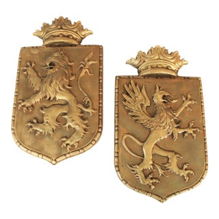 French Gesso Lion & Dragon Crests, Pair For Sale