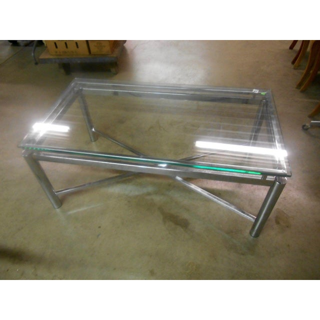 Mid-Century Modern Vintage Mid-Century Modern Chrome & Floating Glass Top Coffee Table For Sale - Image 3 of 9
