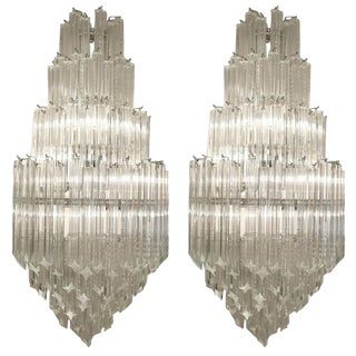 "Venini Murano ""Quadriedri"" Sconces - A Pair For Sale"