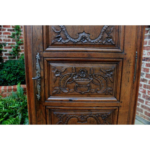 Mid 19th Century Antique French Country Oak 19th Century Liergues Bonnetiere Cabinet Armoire Wardrobe Bookcase For Sale - Image 5 of 13