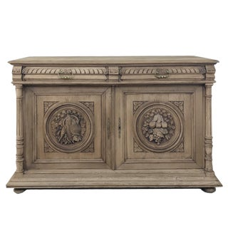 19th Century French Renaissance Stripped Oak Buffet For Sale