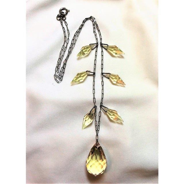 Circa 1920s Czechoslovakian Yellow Faceted Drop Necklace For Sale - Image 4 of 8