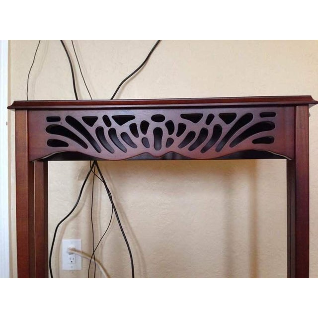 Contemporary Open Carved Mahogany Console Table - Image 5 of 5