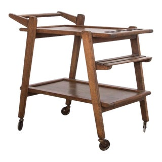 Mid-Century Modern Belgian Oak Bar Cart For Sale