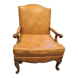 1930s Vintage Baker Mustard Leather Bergere Chair For Sale