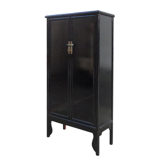 Chinese Oriental Black Lacquer Armoire - Image 3 of 5