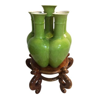 Multi-Fluted Asian Green Crackle Glaze Vase and Pedestal Stand