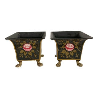 Vintage Heavy Tole Footed Jardiniere Planter Set of 2 For Sale