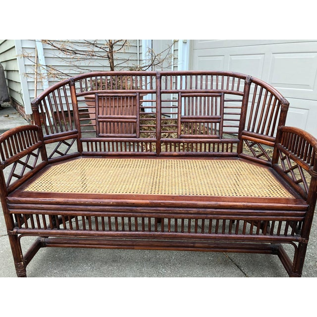 Vintage Brighton Bamboo Wicker Furniture Sofa - Set of 3 For Sale - Image 9 of 11