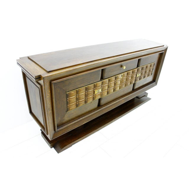 Brutalist Credenza or Sideboard by Charles Dudouyt, France, circa 1940s. Good original condition. Worldwide shipping.