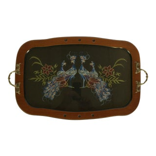 Vintage Embroidered Peacocks Design on Silk with Cherry Wood Tray For Sale