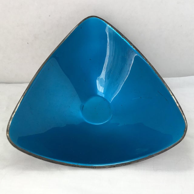 Blue Vintage Reed & Barton Silver Plate and Enamel Bowl For Sale - Image 8 of 10