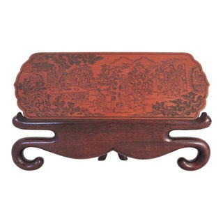 Decorative Antique Chinese Figural Etched Tablet or Plaque on Rosewood Display Stand For Sale
