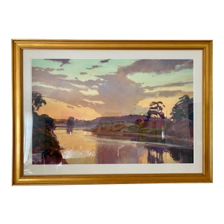 Sunset Pond Landscape Plein Air Fine Art Giclée Framed For Sale