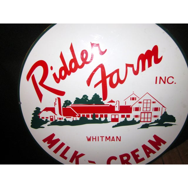1980s Vintage Style Porcelain Dairy Farm Advertisement Sign For Sale - Image 5 of 9
