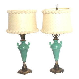 Art Deco Ceramic & Brass Urn Table Lamps in Turquoise - A Pair