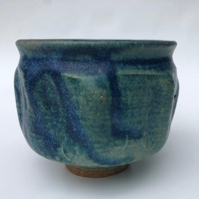 Boho Chic Mid-Century Blue Green Glazed Studio Pottery Bowl / Planter For Sale - Image 3 of 13