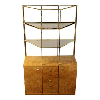 Mid Century Modern Milo Baughman Burl Wood Credenza Brass Etagere Glass Shelves For Sale