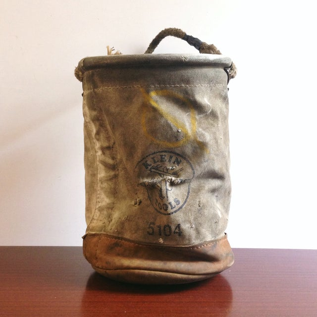 Vintage Lineman's Canvas Bucket - Image 2 of 4