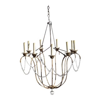 Italian 12 Light Crystal Swag Chandelier by Niermann Weeks For Sale