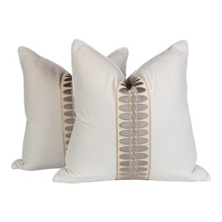 Cream and Taupe Geomoetric Tape Pillows, a Pair For Sale
