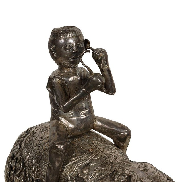 Late 19th Century Antique Man on Elephant Hand Carved Tibetan Sculpture For Sale - Image 11 of 13