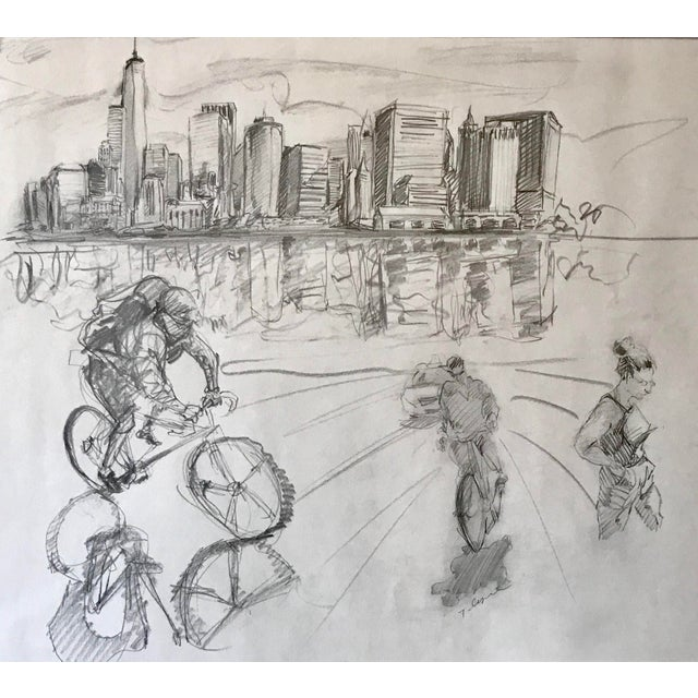 Pencil New York Manhattan Skyline Figures Drawing by Tom Christopher For Sale - Image 7 of 9