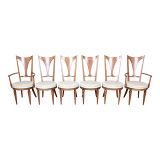 Romweber Mid-Century Modern Cherry and Burl Wood V-Back Dining Chairs, Set of Six For Sale