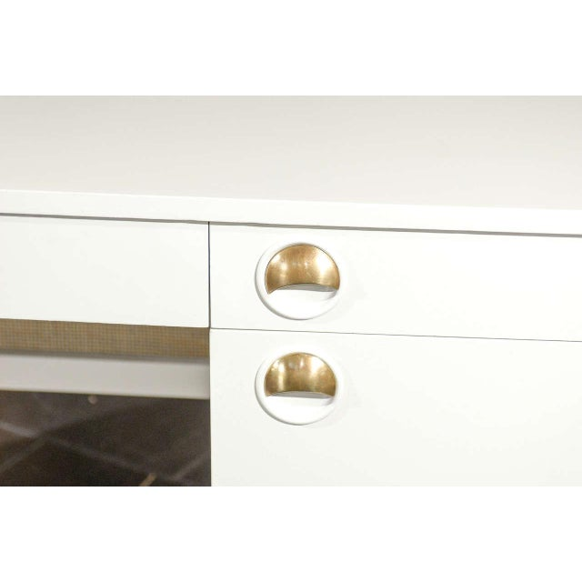 Brass Beautiful Landstrom Modern Desk in Cream Lacquer For Sale - Image 7 of 11