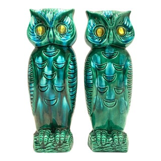 "Giftcraft Japanese Mid-Century Ceramic Glaze ""Google"" Eye Owl Vases - a Pair For Sale"