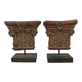 Pair of Antique Architectural Terra Cotta Corinthian Stands
