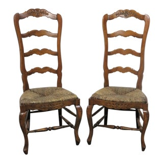 French Country Carved Oak Ladderback Chairs - a Pair For Sale