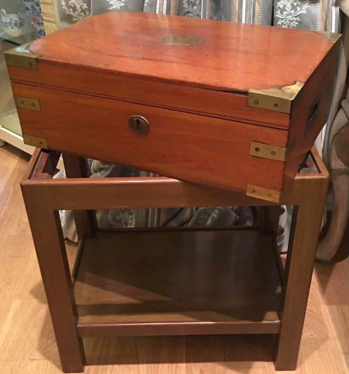 Unusual Antique Campaign Chest Box on Stand Table | Chairish