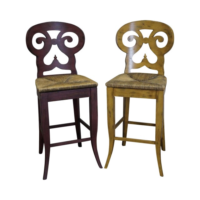 Biedermeier Style Counter Bar Stools - a Pair For Sale