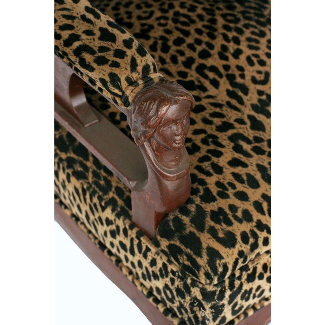 Empire Style Chair Pair with Leopard Print Covering For Sale In Los Angeles - Image 6 of 8