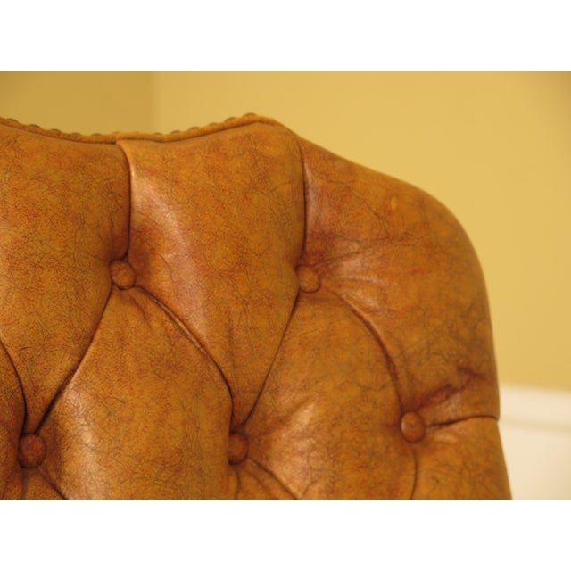 Federal Century Tufted Leather Office / Desk Chair For Sale - Image 3 of 12