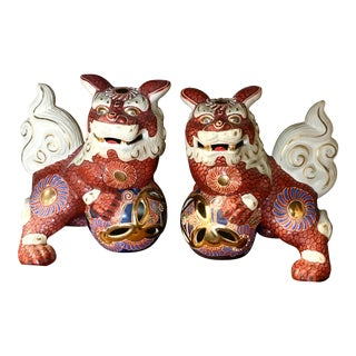1980s Asian Antique Red Foo Dogs - a Pair For Sale