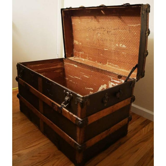 Fabulous Victorian Antique Canvas Leather & Wood Steamer Trunk For Sale - Image 5 of 7