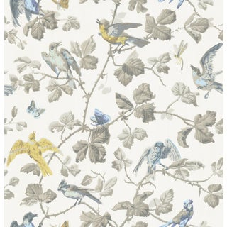 Cole & Son Winterbirds Classic Botanic Style Wallpaper - 11 Yard Roll For Sale