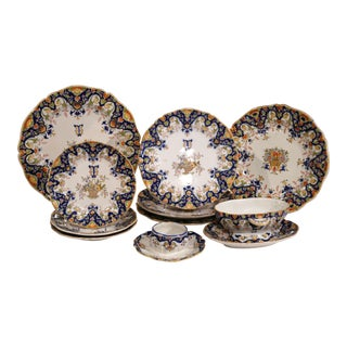 19th Century Set of Ten French Hand-Painted Plates and Dishes From Normandy