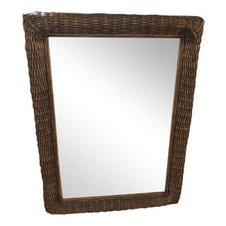 Wicker & Wood Mirror For Sale