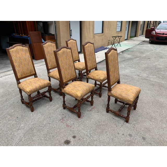 1900s French Louis XIII Style Solid Walnut Dining Chairs - Set of 6 For Sale - Image 4 of 13