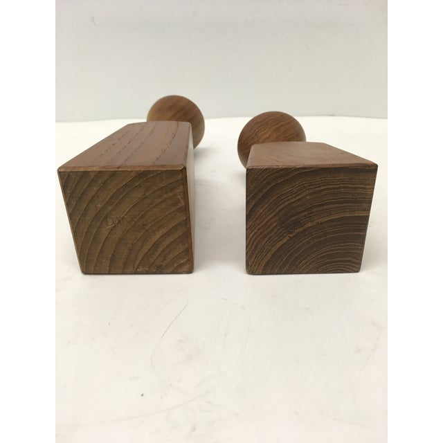 Dansk Teak Candle Holders by Dansk - a Pair For Sale - Image 4 of 6