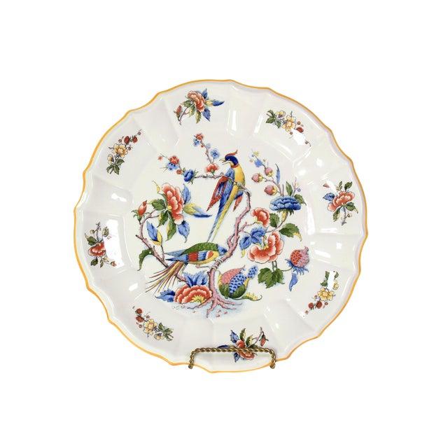 1800s Franco-German Hand-Painted Porcelain Rouen Saar Basin Plate For Sale